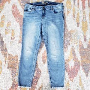 Kut from the Kloth Frayed Hem Crop Skinny Jeans 14